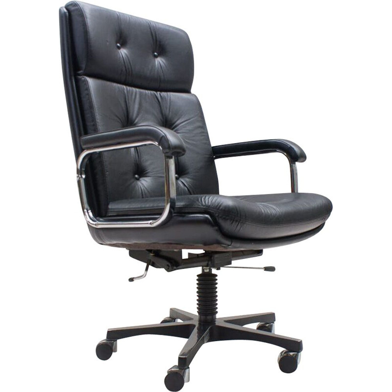Italian vintage office chair in leather