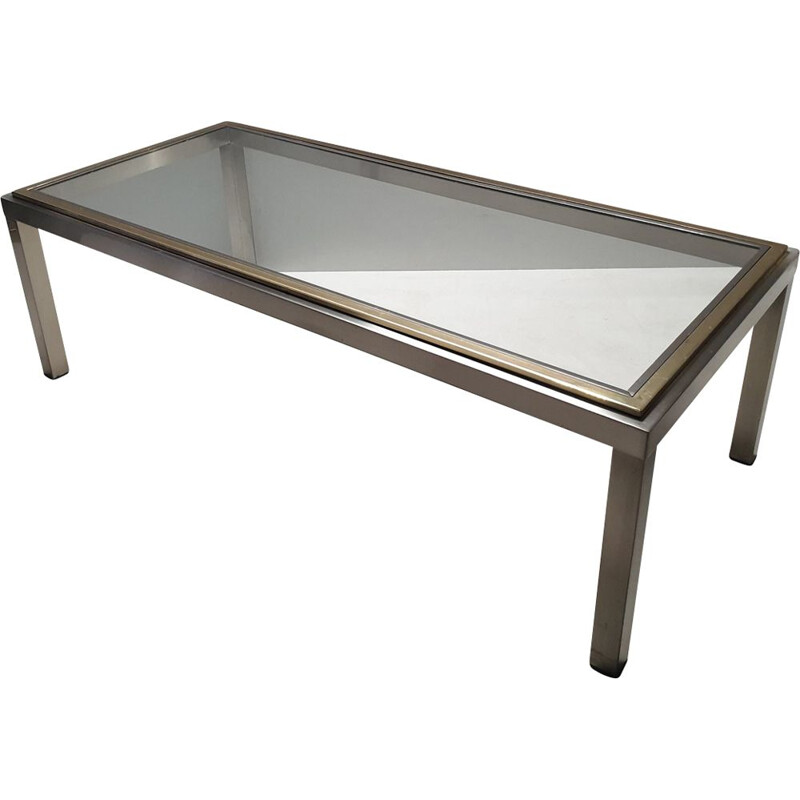 Vintage chromed coffee table in brass and glass