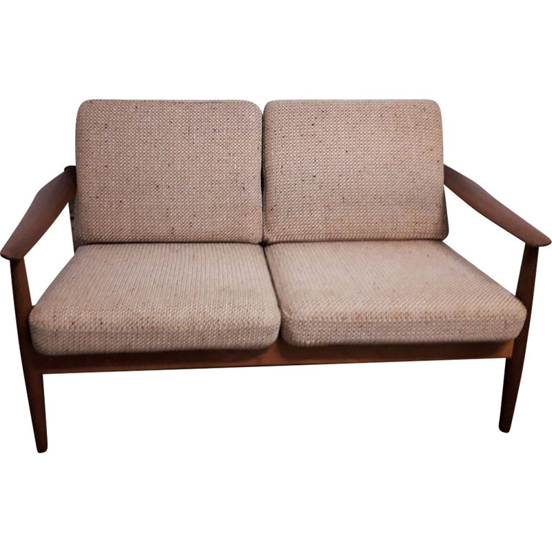 2-seater vintage teak sofa by Arne Vodder