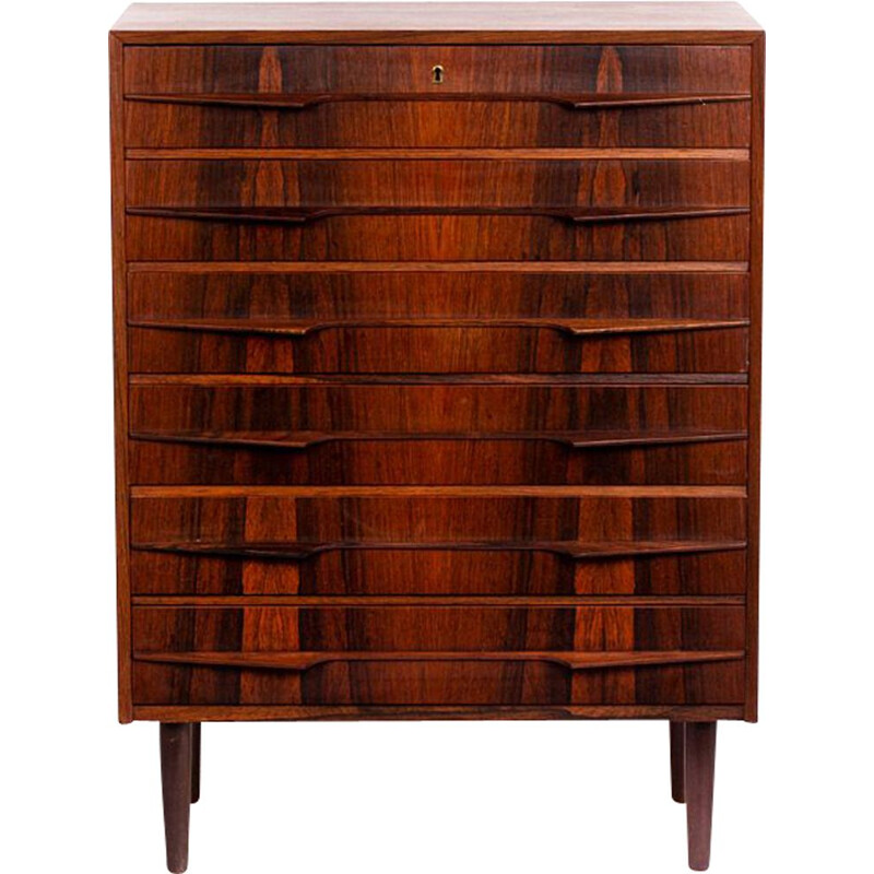 Vintage large Danish chest of drawers in rosewood