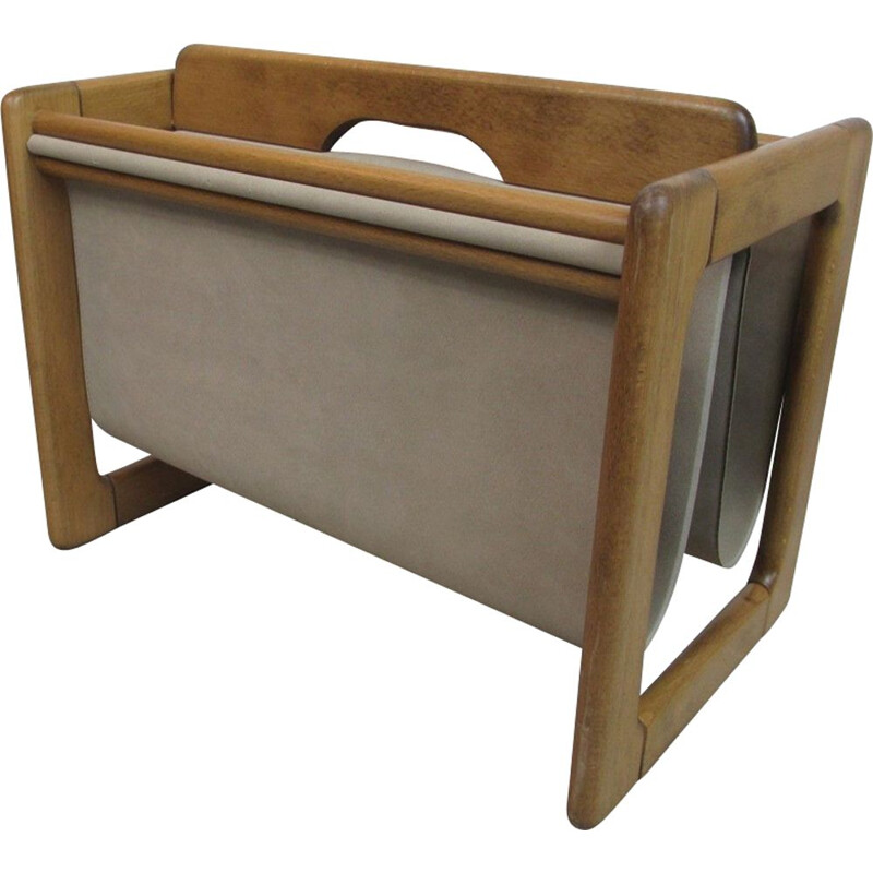 Vintage German suede magazine rack, 1970
