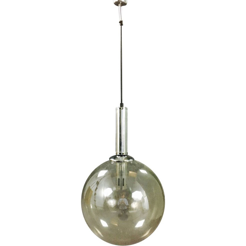 Vintage See Delmas glass and steel hanging lamp