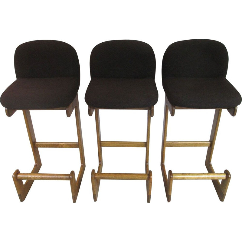 Set of 3 vintage German oak bar chairs from Brune