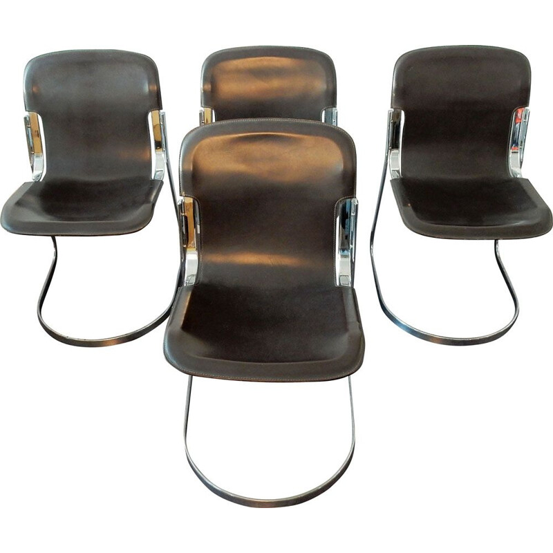 Set of 4 vintage brown leather C2 chairs by Willy Rizzo for Cidue