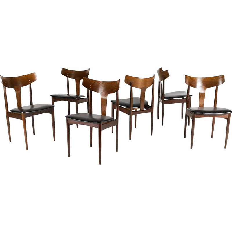Vintage set of 6 dining chairs by Samcom, Danemark,1960