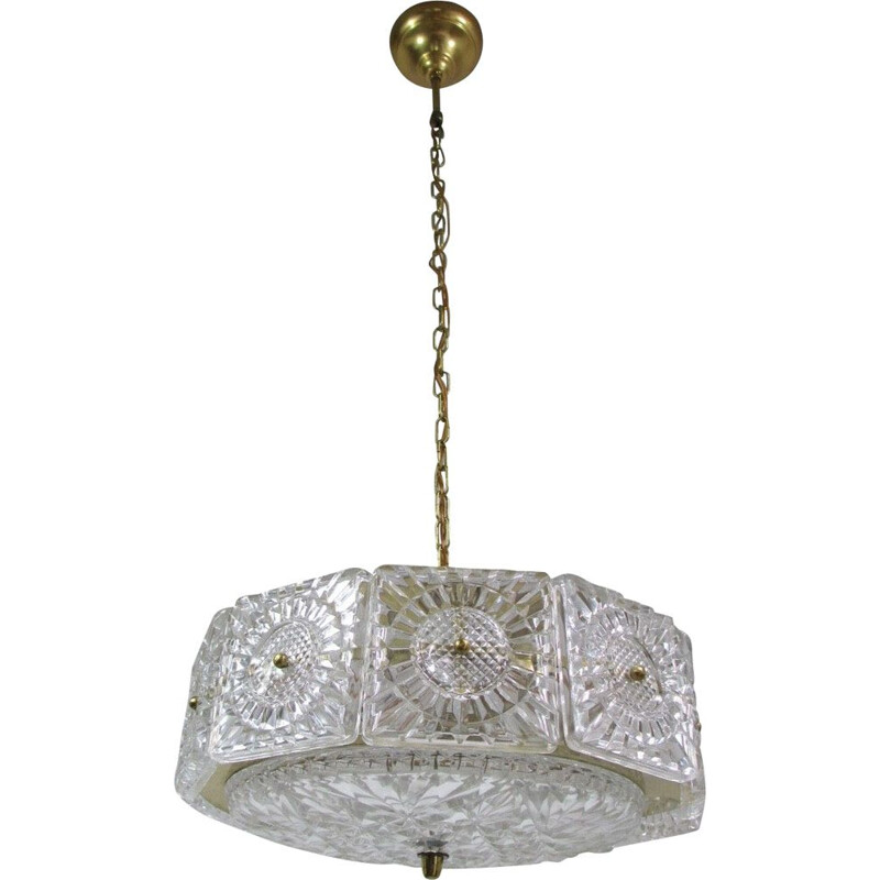 Vintage brass and crystal pendant light by Carl Fagerlund for Orrefors,1960