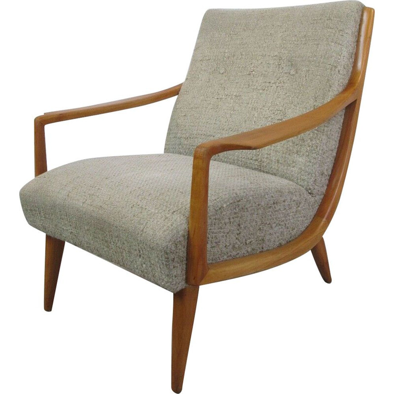 Vintage armchair in cherry wood from the 70s
