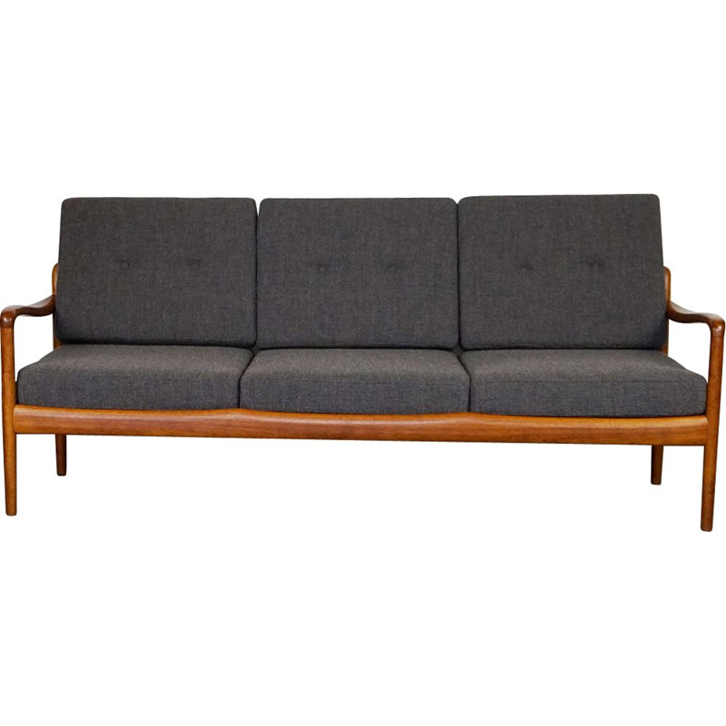 Vintage teak and grey fabric 3 seater Sofa by Knoll Antimott 1960