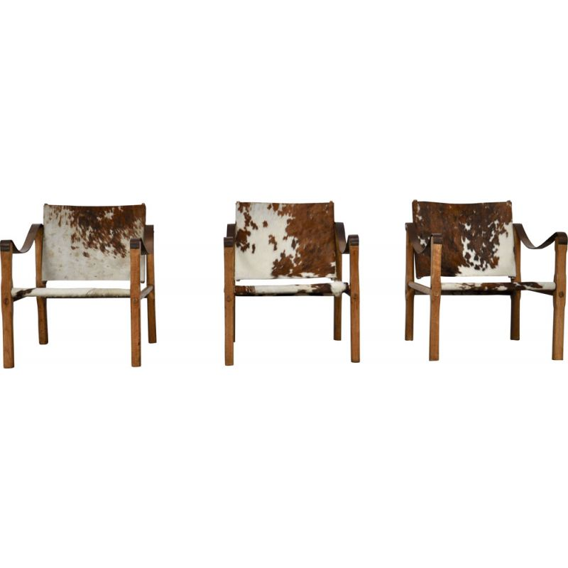 Set of 3 vintage chairs in cowskin 1970