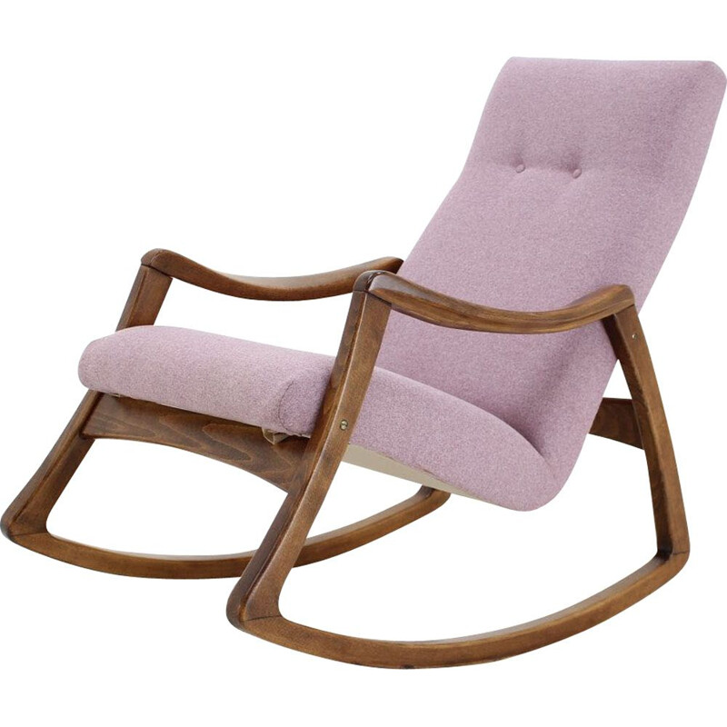 Vintage Pink Rocking Chair for Thon 1960
