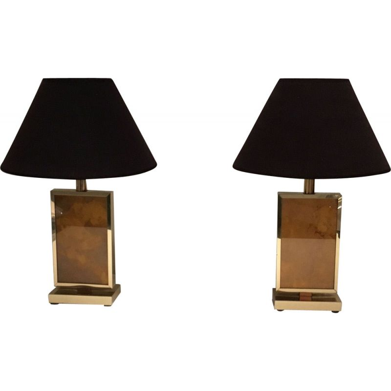 Vintage pair of golden lamps 1970