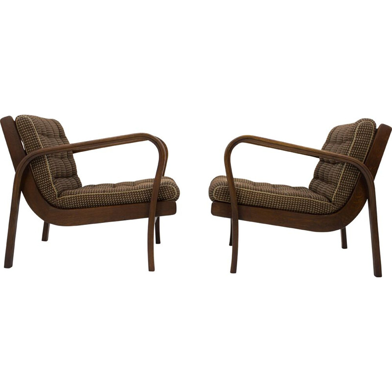 Set of 2 vintage armchairs by Karel Kozelka and Antonin Kropacek 1940s