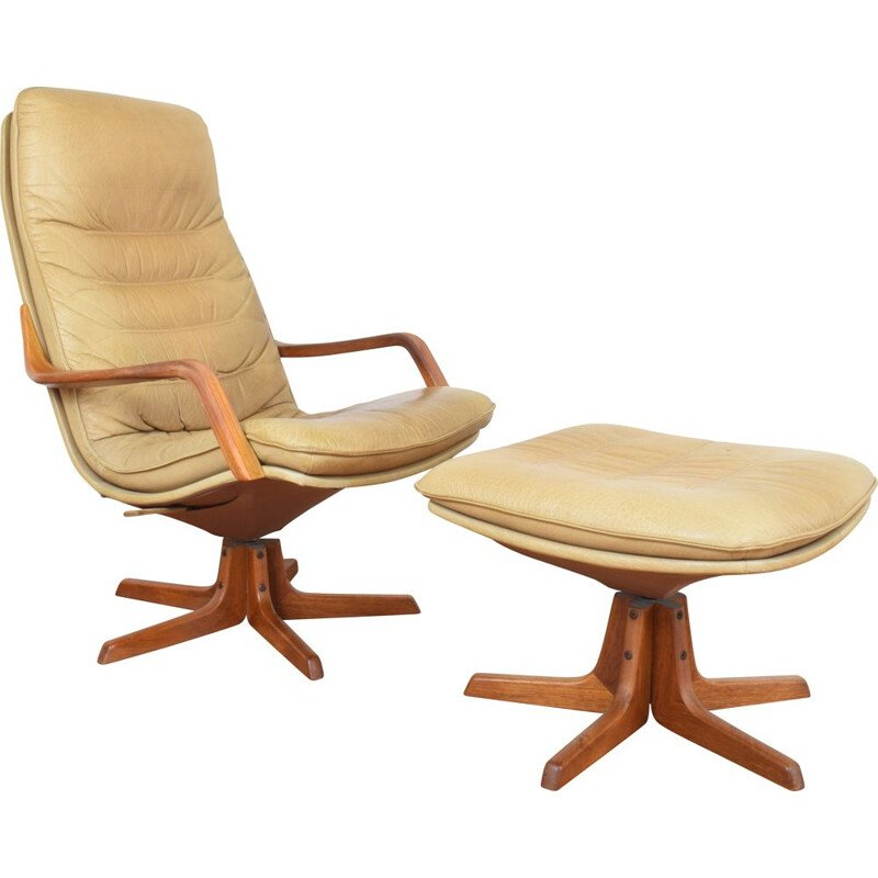 Vintage Office Chair with Ottoman for Berg Furniture 1970s