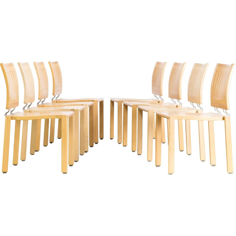 Set of 8 vintage dining chairs Quadro W by Bruno Rey & Charles Polin for Dietiker