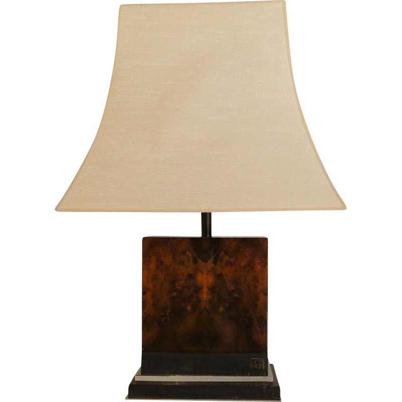 Vintage lamp in wood by Jean Claude Mahey, 1970s