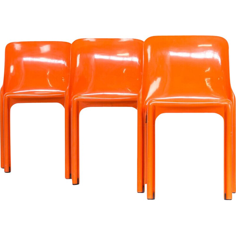 Set of 3 vintage dining chairs Selene by Vico Magistretti for Artemide 1960s