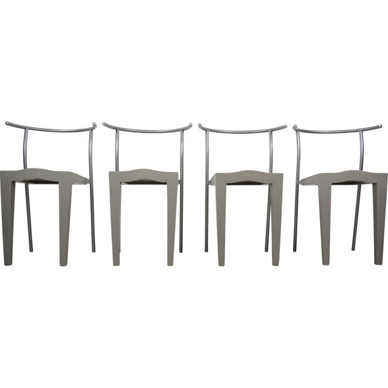 Set of 4 vintage chairs Dr Glob by Philippe Starck for Kartell 1980s