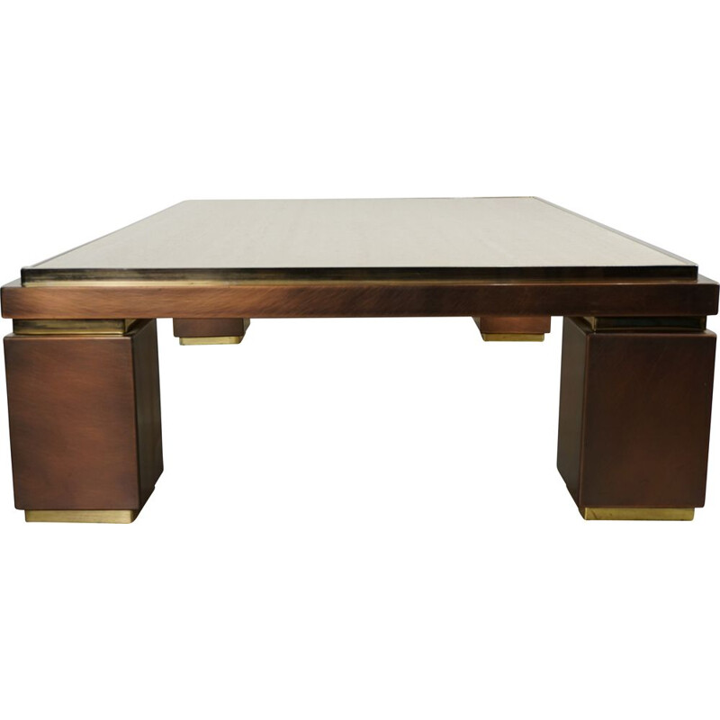 Vintage coffee table in travertine, copper and brass BC Design 1970s