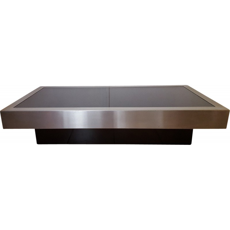 Vintage Coffee Table In Brushed Steel And Glass Willy Rizzo 1970s
