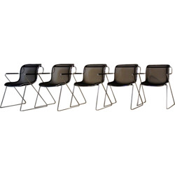 Set of 5 Castelli chromed steel and metal armchairs, Charles POLLOCK - 1982