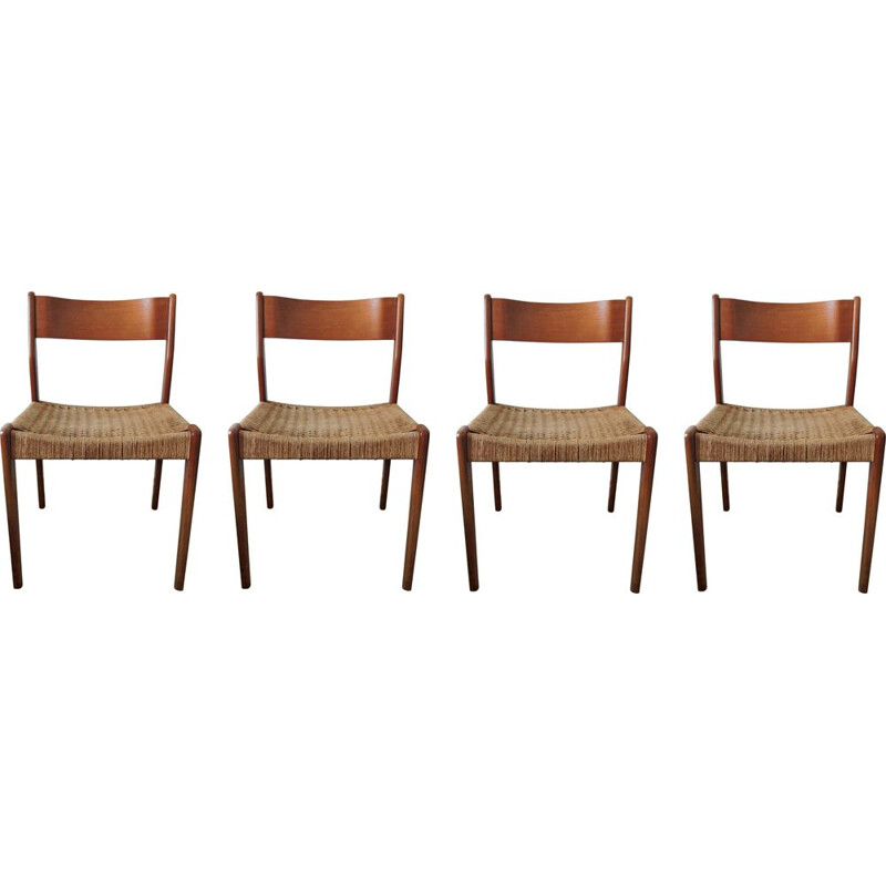 Vintage set of 4 teak & paper cord chairs 1960s