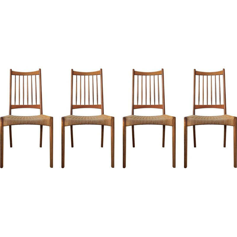 Vintage set of 4 teak & paper cord dinning chairs