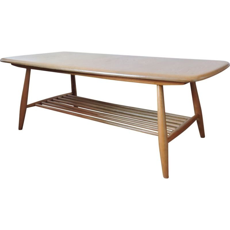 Vintage Ercol coffee table with magazine rack 1960