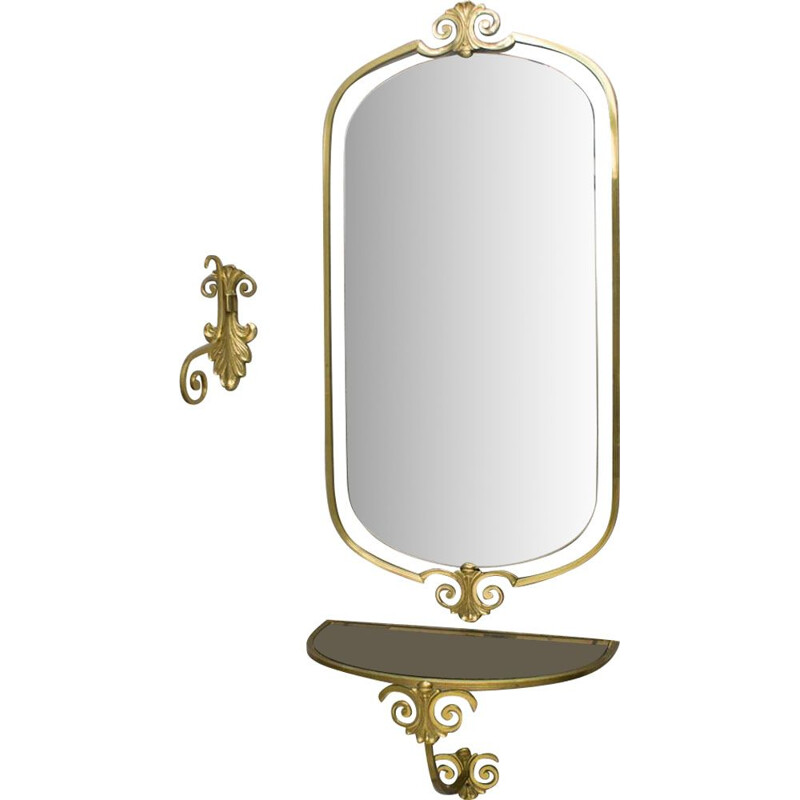 Vintage brass wall mirror from the 1950s