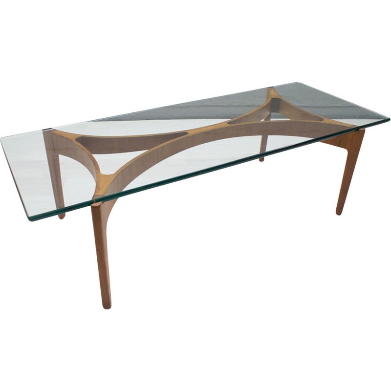 Vintage coffee table in glass and teak,1960