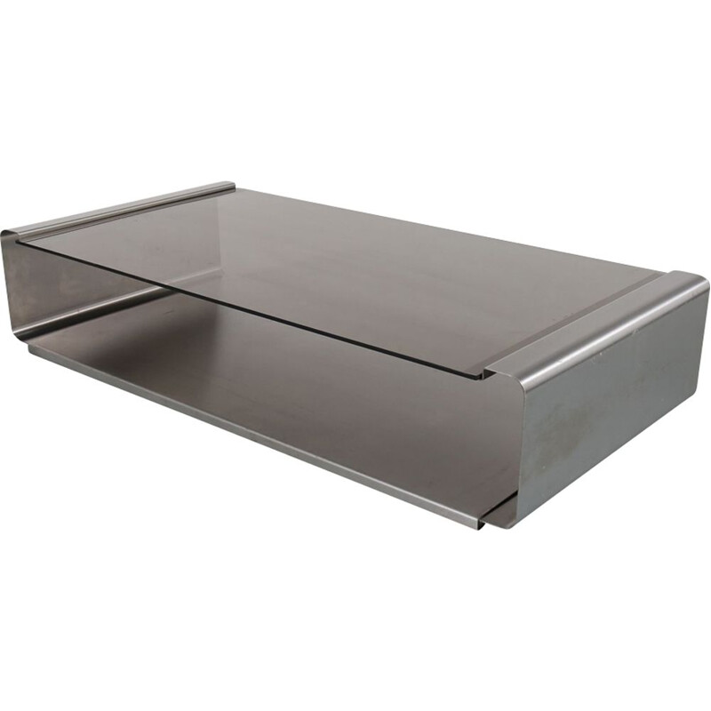 Vintage stainless steel coffee table by François Monnet for Kappa,France,1970