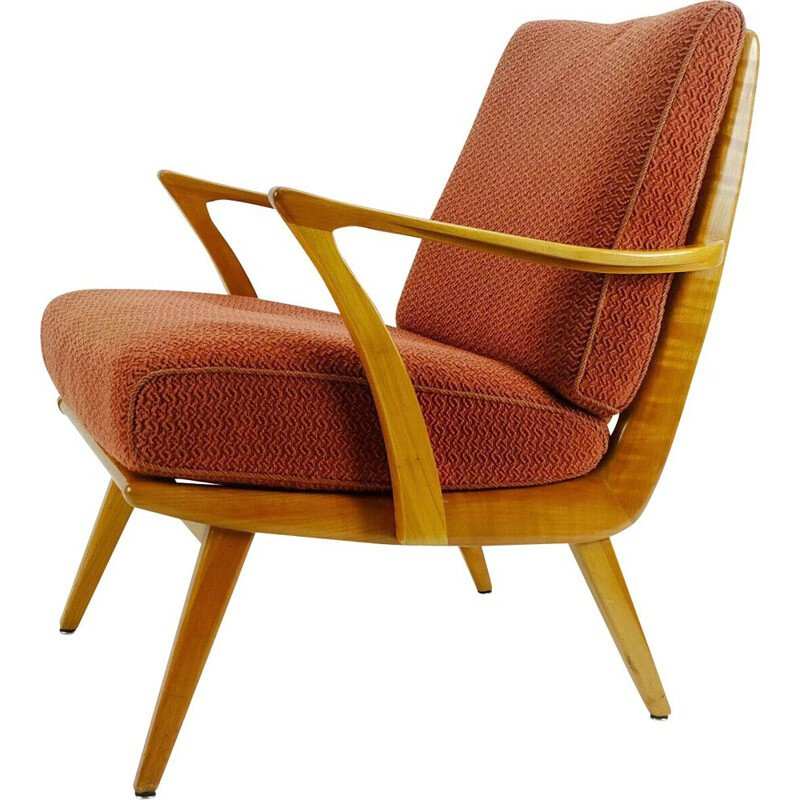 Vintage armchair in cherry wood and original light red fabric, 1950
