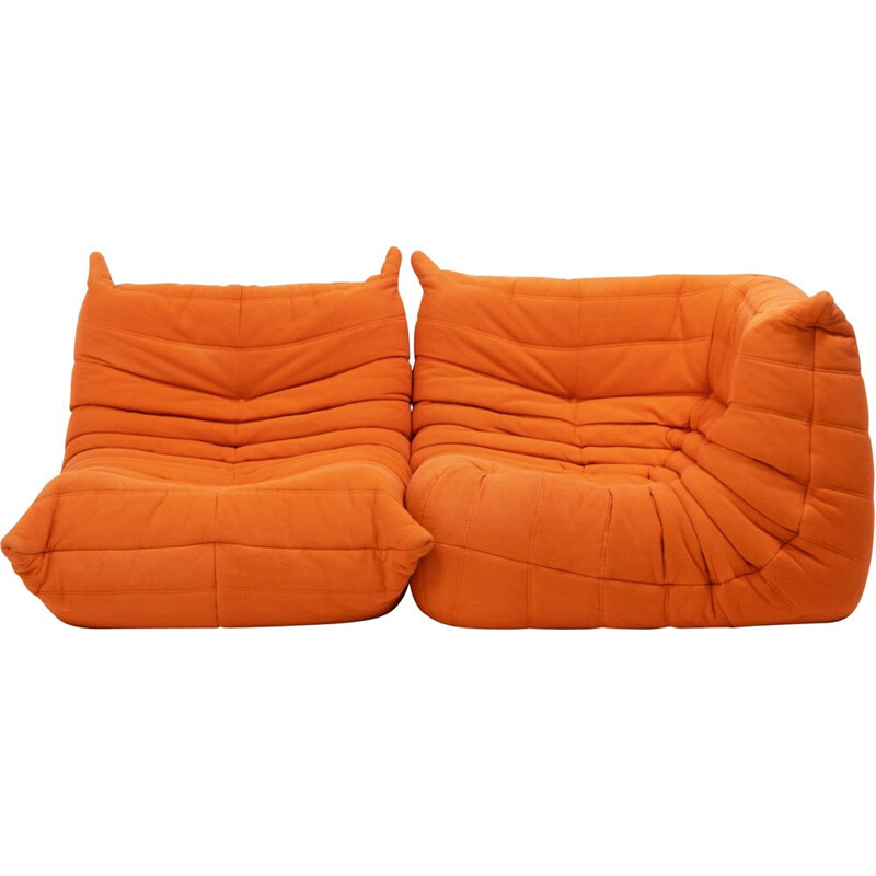 2 Togo Orange poufs by Michel Ducaroy for Ligne Roset, 1970