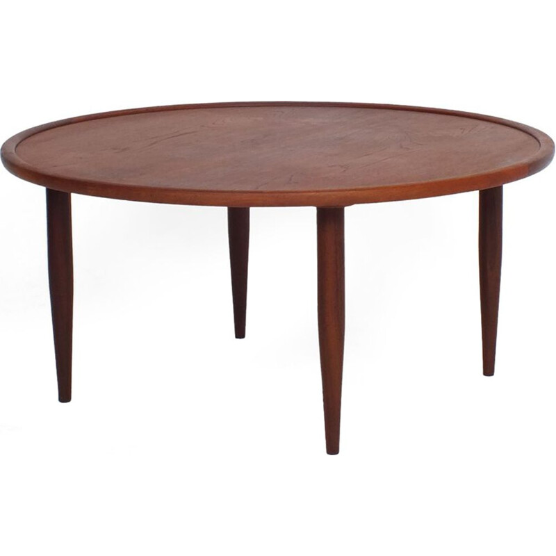 Vintage coffee table round in teak 1960s