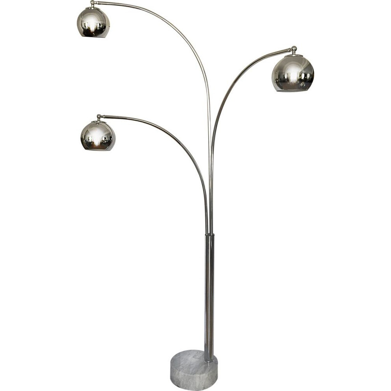 Marble and chromed metal floor lamp by Gioffredo Reggiani
