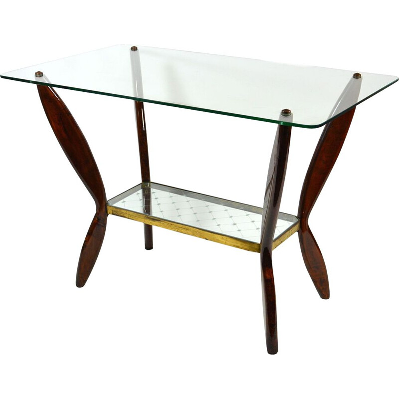 Italian vintage coffee table in wood and glass