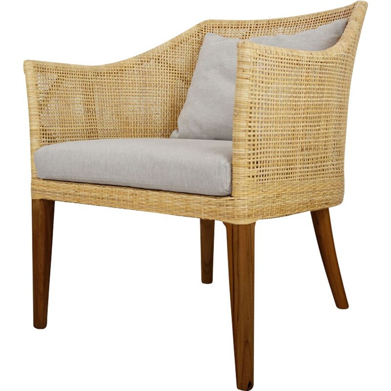 Vintage wooden and rattan armchair