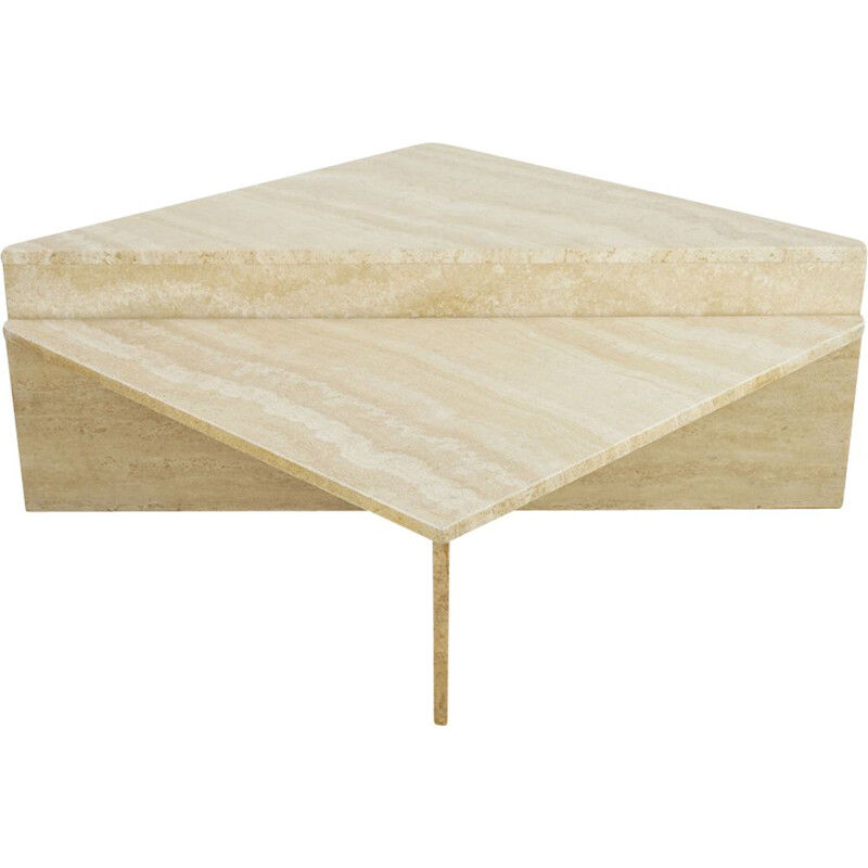 Pair of triangular travertine coffee tables