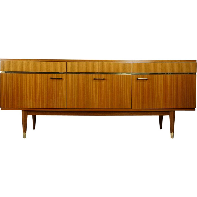 French vintage sideboard in wood and brass