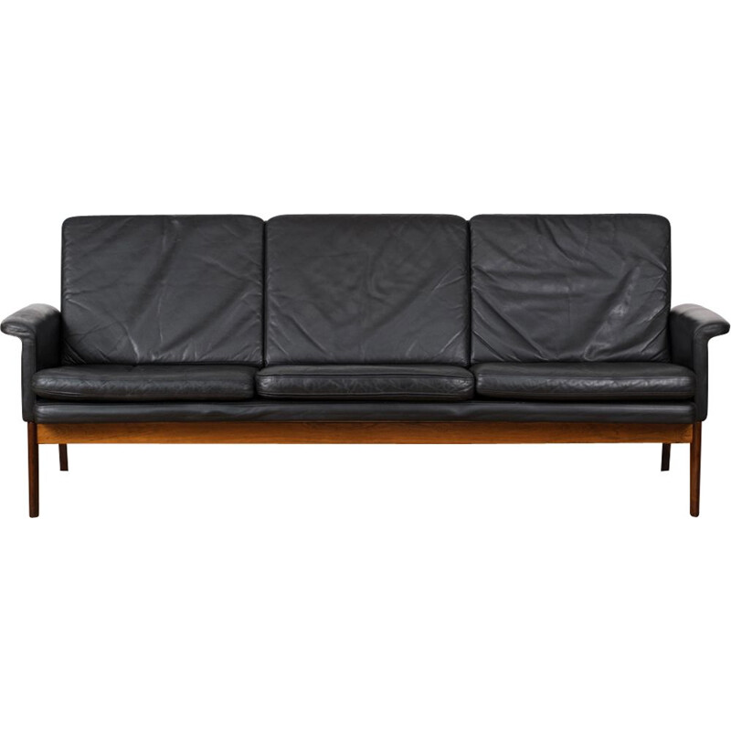 Vintage sofa in black leather and rosewood by Finn Juhl, model 218