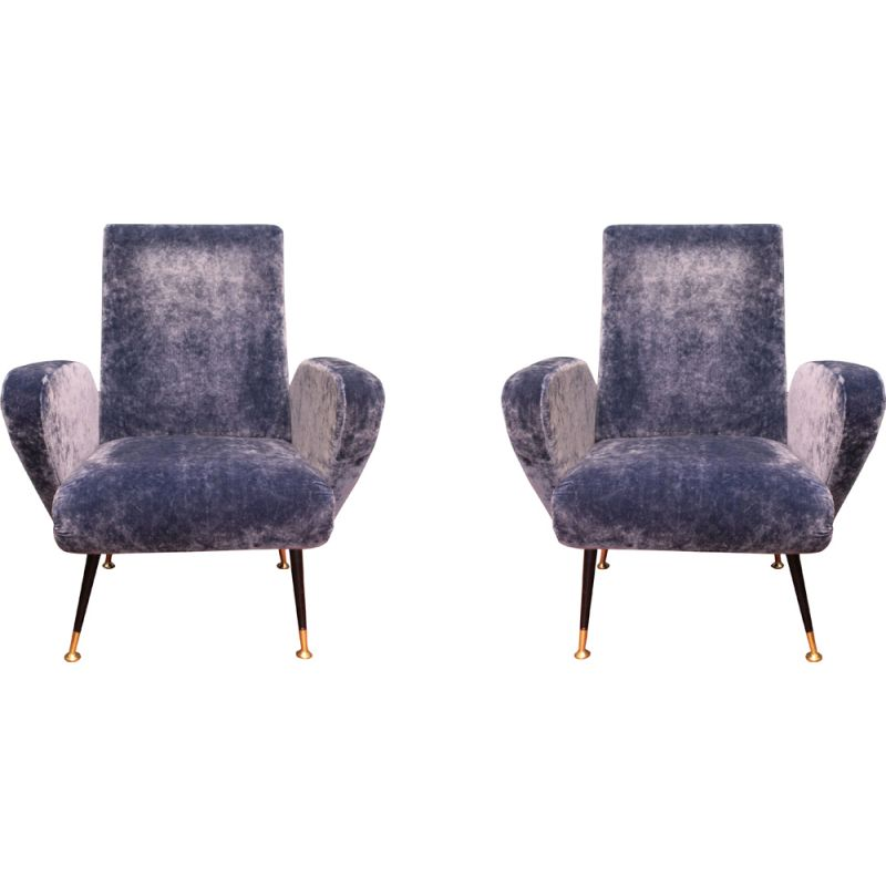 Pair of vintage Italian armchairs in blue velvet and brass