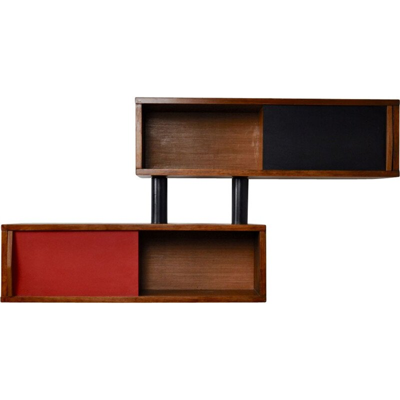 Red and black wall shelves in wood