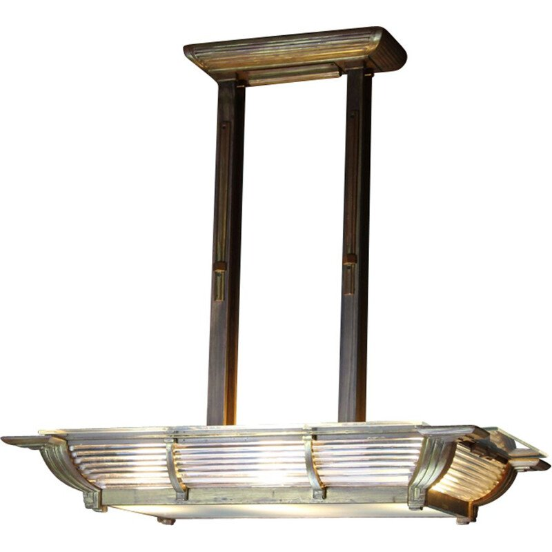 Art Deco French Square Brass and Glass Ceiling Lamp from Atelier Petitot, 1932