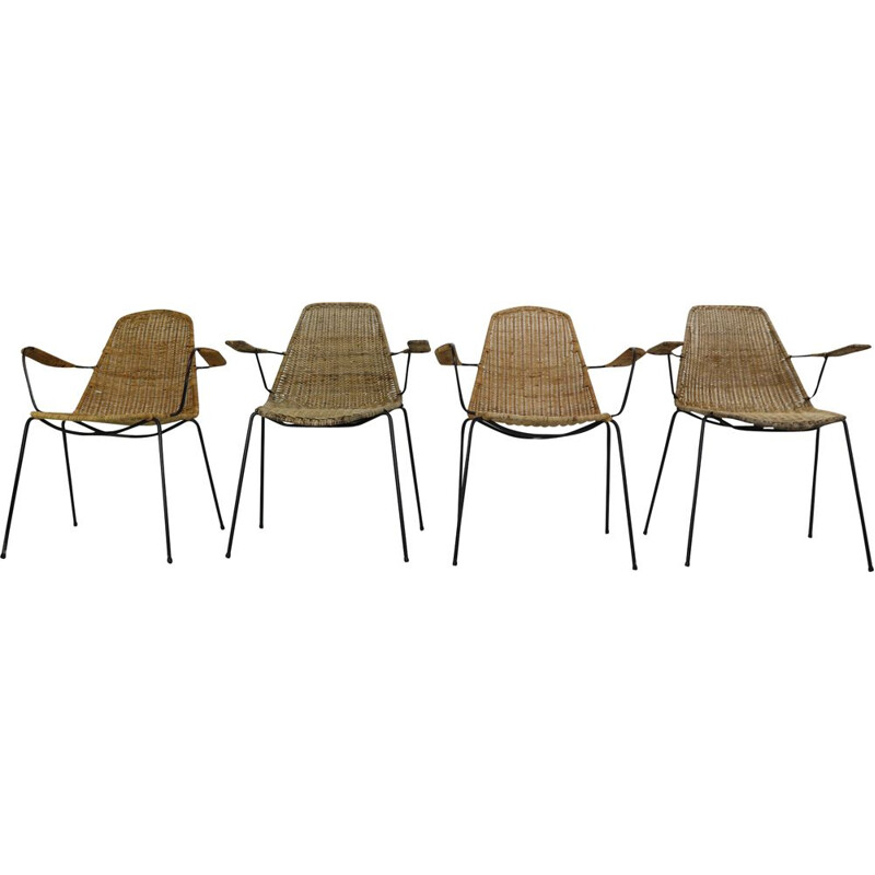 Set of 4 Basket chairs by Gian Franco Legler