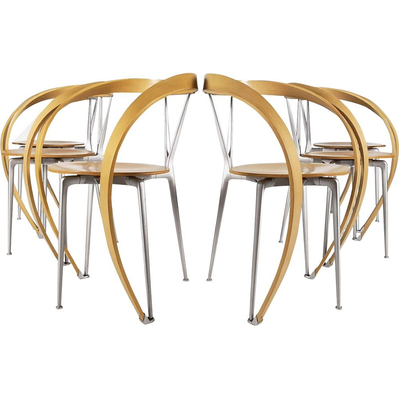 Set of 6 Revers chairs by Andrea Branzi for Cassina
