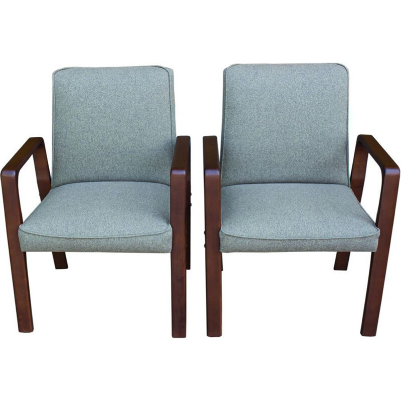 Pair of vintage German armchairs in wood