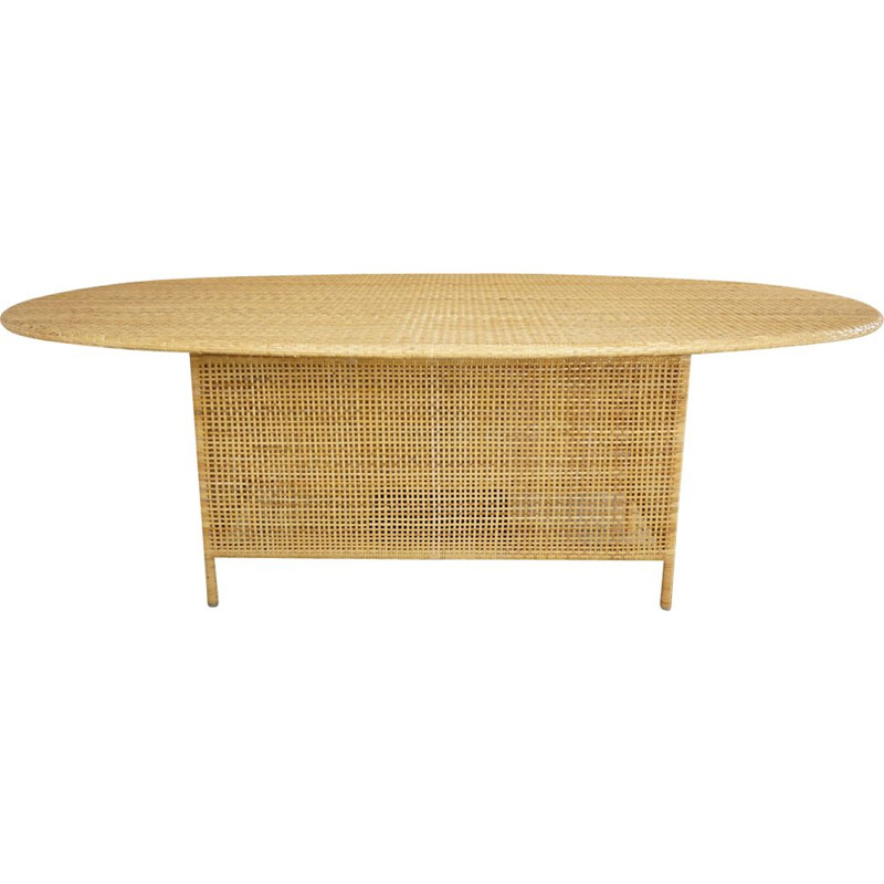 Vintage oval dining table in rattan