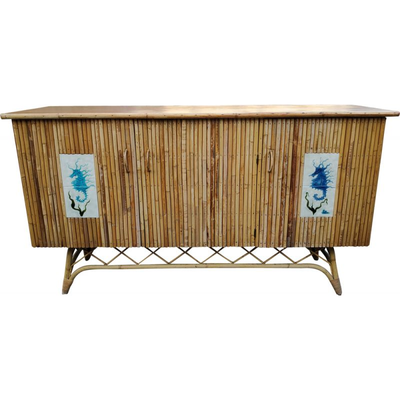 Vintage rattan and ceramic sideboard by Chassin