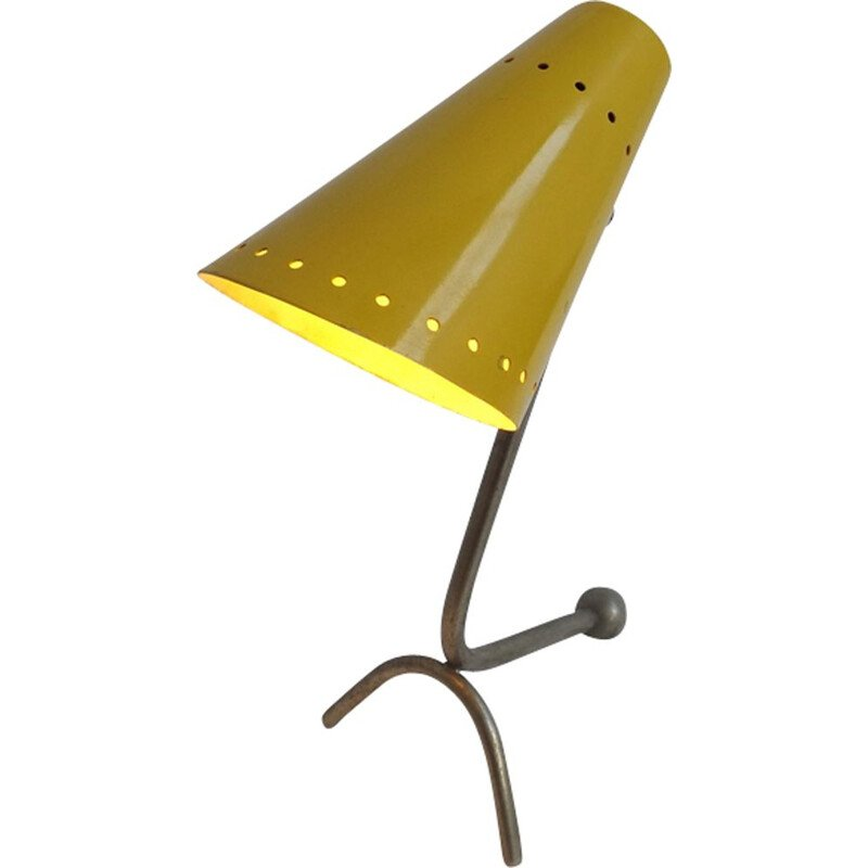 Italian vintage table lamp in yellow metal