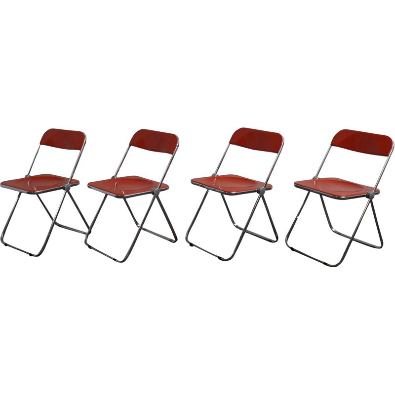 Set of 4 red Plia chairs by Giancarlo Piretti