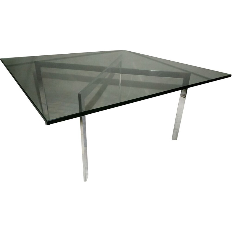 Vintage glass and steel coffee table
